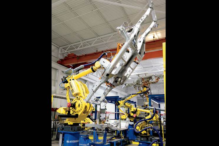 Before being sent to Bowling Green, the robotic frame-assembly line was thoroughly tested in the Pre-Production Operations garage, providing the development team with lightweight aluminum foundations for their Integration Verification vehicles.