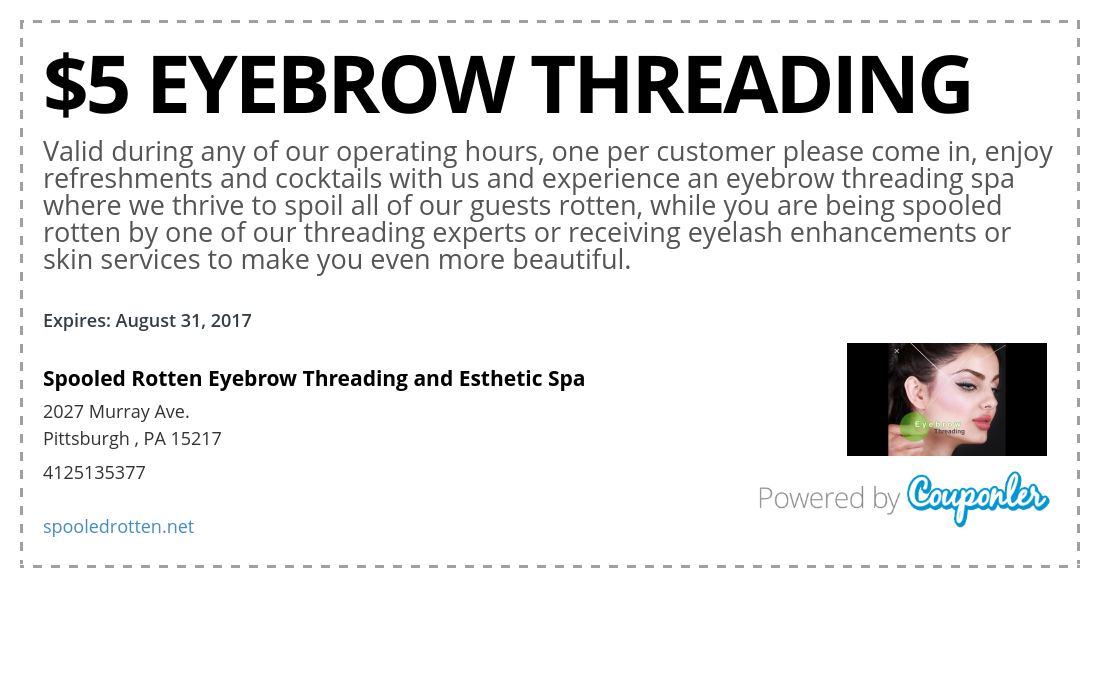 Spooled Rotten Eyebrow Threading And Esthetic Spa Coupon Couponler