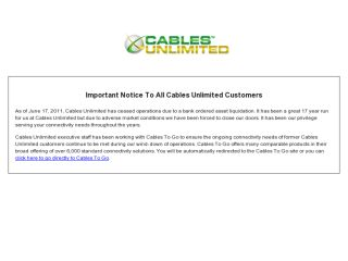 Shop at cablesunlimited.com