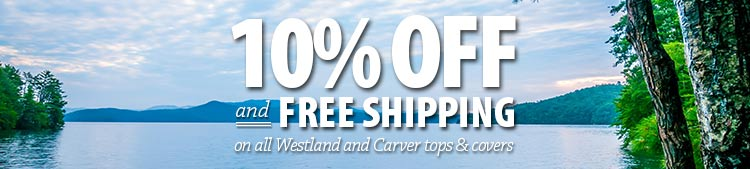 Ten percent off Carver and Westland covers and bimini tops winter interior banner
