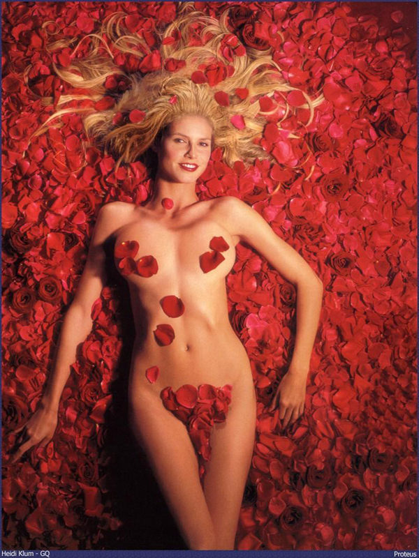 Heidi Klum in GQ 2002 as Mena Suvari in American Beauty photographed by Mark Seliger for The Sex Goddess