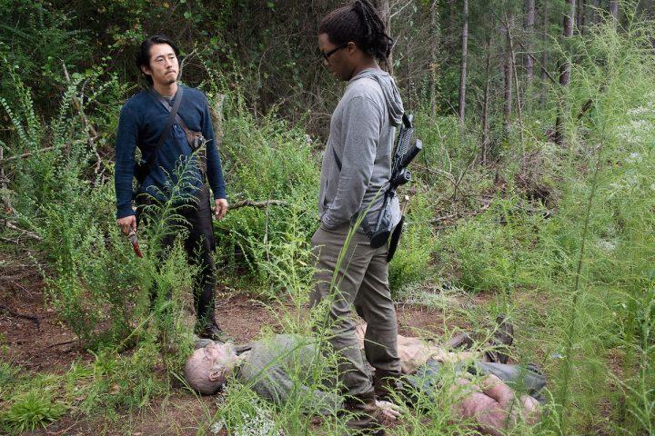 Steven Yeun as Glenn Rhee and Corey Hawkins as Heath - The Walking Dead _ Season 6, Episode 12 - Photo Credit: Gene Page/AMC