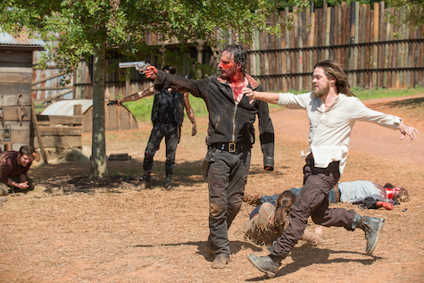 Andrew Lincoln as Rick Grimes and Tom Payne as Jesus - The Walking Dead _ Season 6, Episode 11 - Photo Credit: Gene Page/AMC