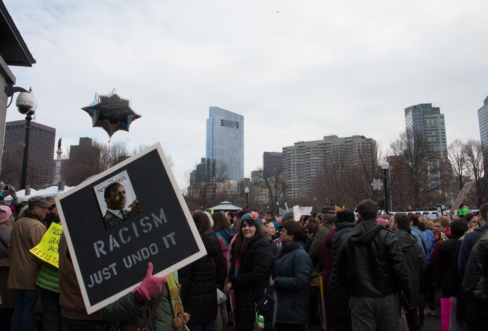 crowd scene from women's march in Boston January 21 2017