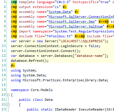 T4 code in Visual Studio 2010 with Tangible Engineering extension