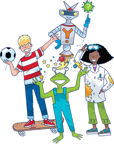 cartoon characters kids science magazine for children