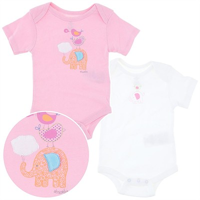 Elephant Set of Two Infant Bodysuits for Girls