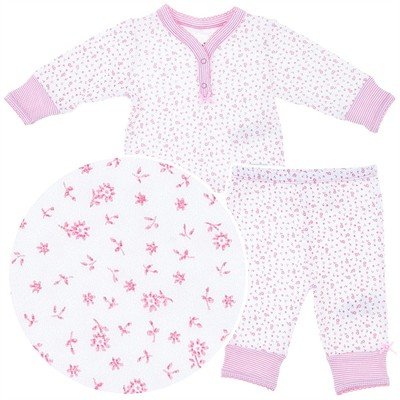 Pink Floral Cotton Pajamas for Baby Girls