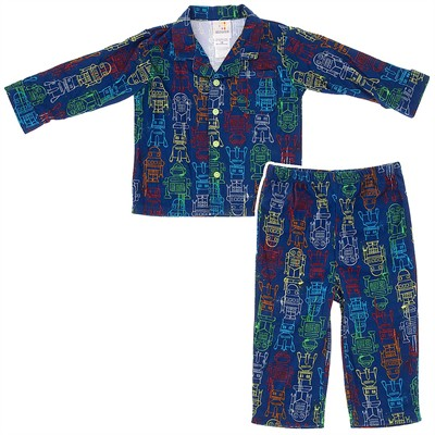 Absorba Coat Style Blue Robot Pajamas for Boys