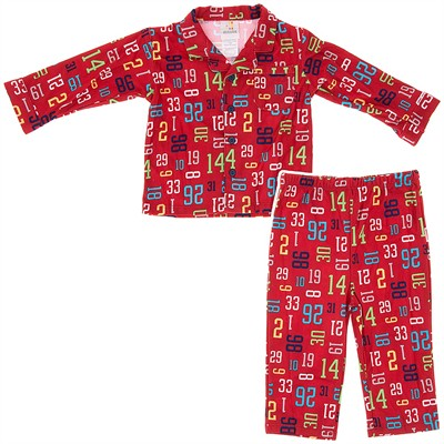 Absorba Coat Style Red Numbers Pajamas for Boys