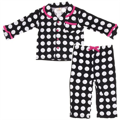 Absorba Black Polka Dot Pajamas for Infant and Toddler Girls