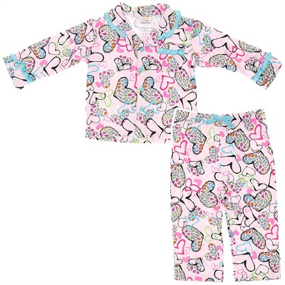 Absorba Leopard Hearts Pajamas for Infant and Toddler Girls