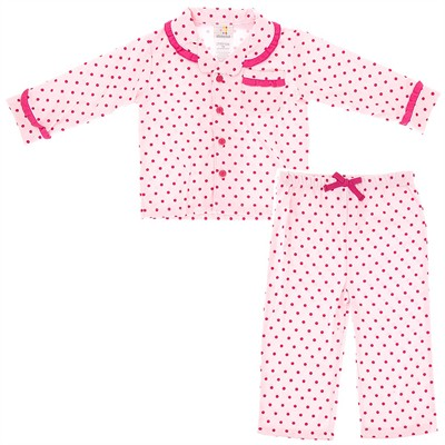 Absorba Pink Polka Dot Pajamas for Infant and Toddler Girls