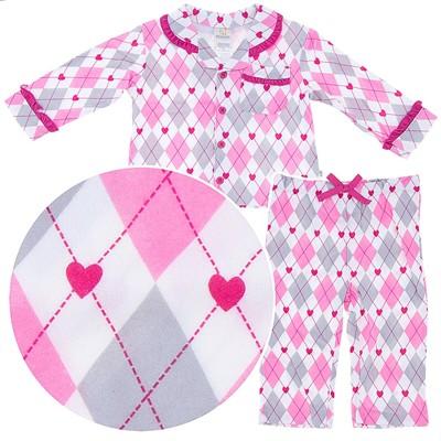 Argyle Coat-Style Pajamas for Infant and Toddler Pajama Girls