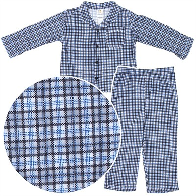 Blue Plaid Coat-Style Pajamas for Toddler Boys