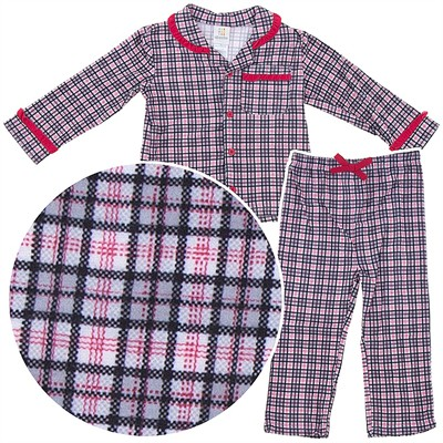 Red Plaid Coat-Style Pajamas for Toddler Girls