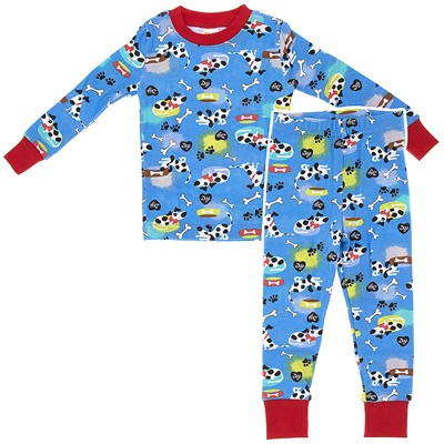 Agabang Blue Dog Organic Cotton Pajamas for Toddlers and Boys