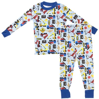 Agabang Blue Construction Organic Cotton Pajamas for Toddlers and Boys