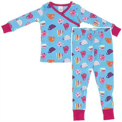 Agabang Fancy Cup Organic Cotton Pajamas for Toddlers and Girls