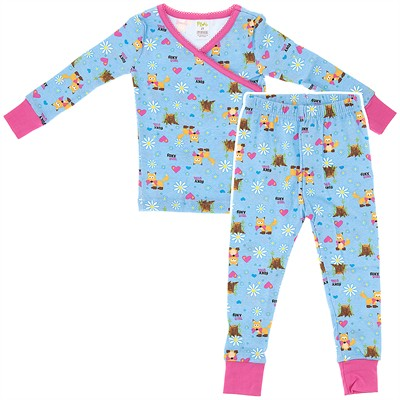 Agabang Foxy Girl Organic Cotton Pajamas for Toddlers and Girls