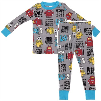 Agabang Gray Robot Organic Cotton Pajamas for Toddlers and Boys