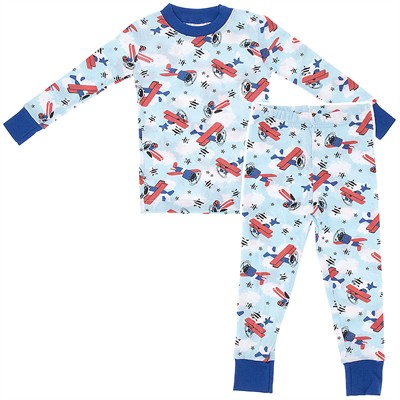 Agabang Airplane Organic Cotton Pajamas for Toddlers and Boys