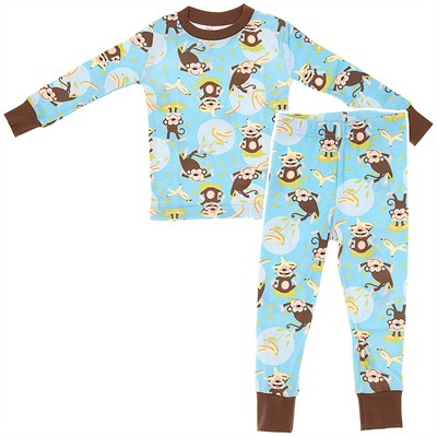 Agabang Blue Monkey Organic Cotton Pajamas for Toddlers and Boys