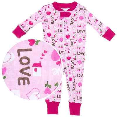 Agabang Pink Love Organic Cotton Sleeper for Baby Girls