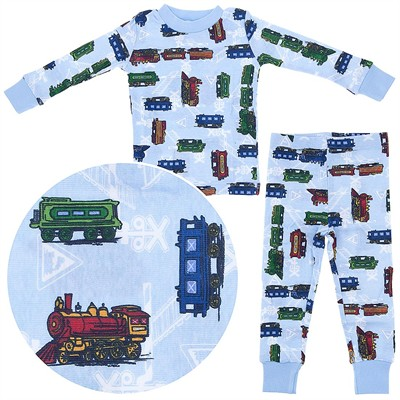 Agabang Blue Trains Organic Cotton Pajamas for Toddlers and Boys