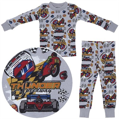 Agabang Gray Racing Organic Cotton Pajamas for Toddlers and Boys