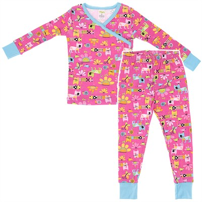 Agabang Pink Cat Organic Cotton Pajamas for Toddlers and Girls
