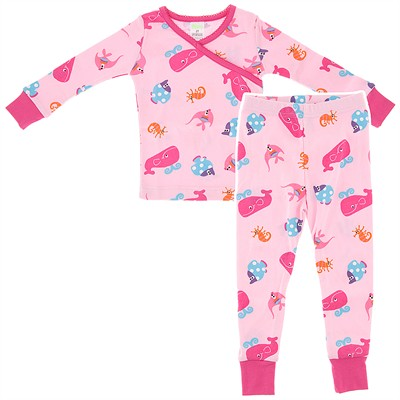 Agabang Pink Fish Organic Cotton Pajamas for Toddlers and Girls