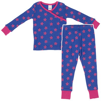 Agabang Pink Star Organic Cotton Pajamas for Toddlers and Girls