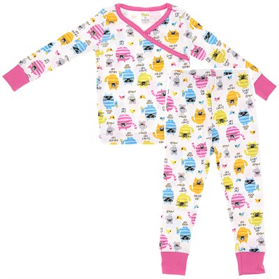 Agabang Cool Cat Organic Cotton Pajamas for Toddlers and Girls