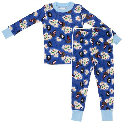 Agabang Treasure Map Organic Cotton Pajamas for Toddlers and Boys