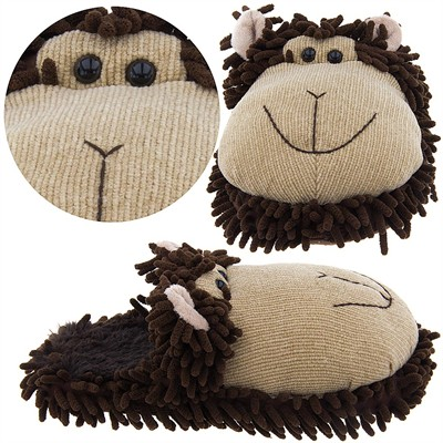 Brown Monkey Fuzzy Animal Slippers for Women