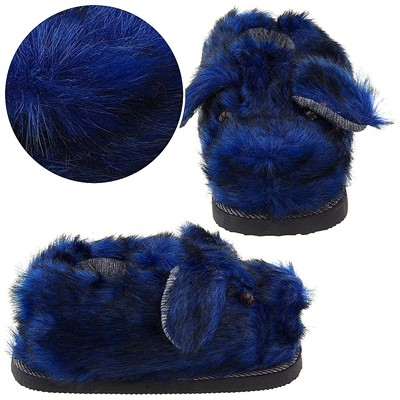 Blue Fuzzy Dog Slippers for Women
