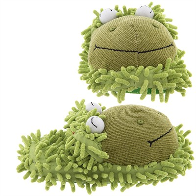 Fuzzy Frog Slippers for Kids