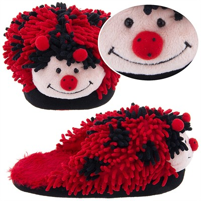 Ladybug Fuzzy Animal Slippers for Women