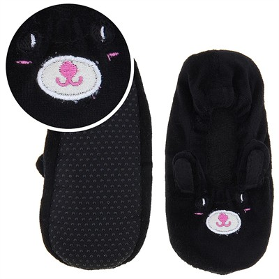 Black and Pink Animal Ballerina House Slippers for Girls