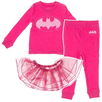 Batgirl Cotton Pajamas with Tutu for Toddler Girls
