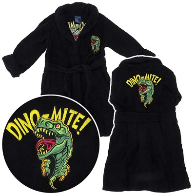 Black Dinosaur Plush Bathrobe for Toddler Boys