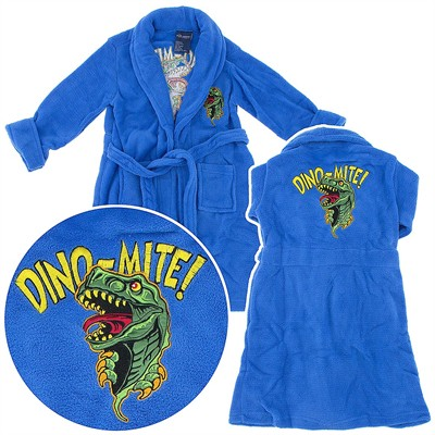 Blue Dinosaur Plush Bathrobe for Toddler Boys
