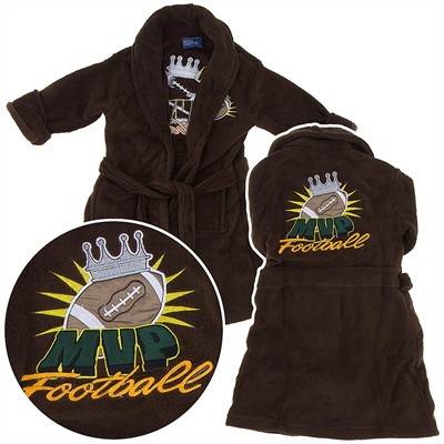 Brown Football Plush Bathrobe for Toddlers and Boys