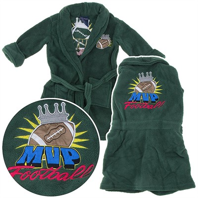 Green Football Plush Bathrobe for Toddlers and Boys