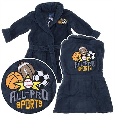 Gray Sports Plush Bathrobe for Toddler Boys