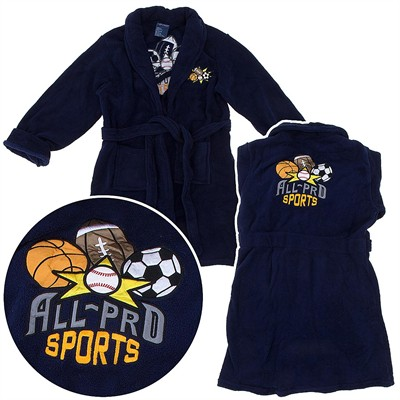 Navy Sports Plush Bathrobe for Toddler Boys
