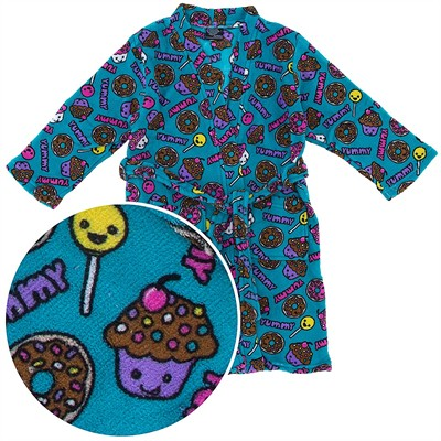 Aqua Candy Fleece Bathrobe for Girls