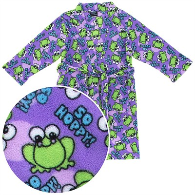 Purple Frog Fleece Bathrobe for Girls