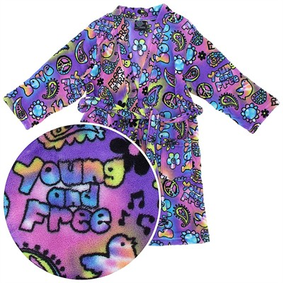 Purple Hippy Print Fleece Bathrobe for Girls